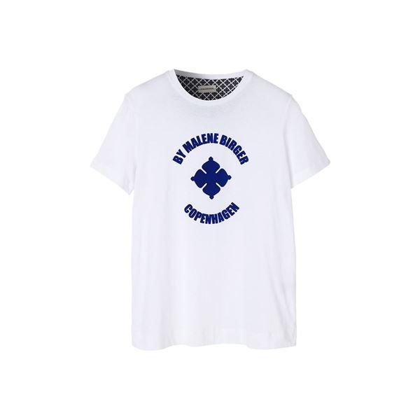 Hvid t-shirt med velour print fra Malene Birger