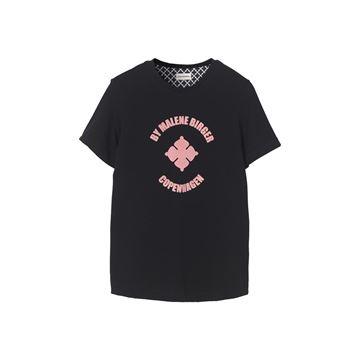 Sort t-shirt med velour print fra Malene Birger