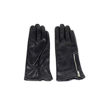 Læder hanske med lynlås fra re:designed